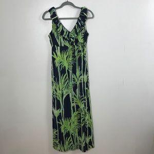 Lilly Pulitzer Ruffle Palm Leaf Maxi Silk Dress